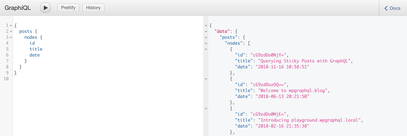 Screenshot showing a GraphQL query for a list of posts
